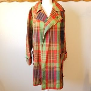 Vintage Plaid Longline Jacket w/ Turtle Brooch